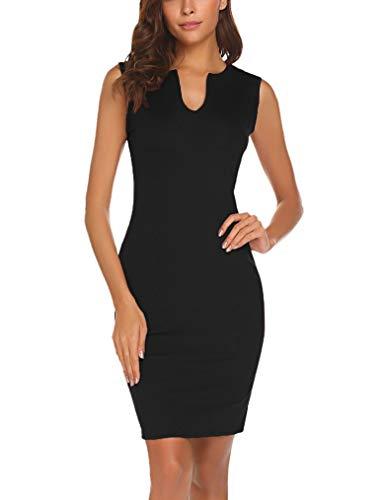 Lalala Damen Partykleid V-Ausschnitt Bodycon Etuikleider Business-Kleid Schwarz Medium