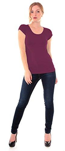 Easy Young Fashion Damen Basic T-Shirt Rundhals Slim Fit Einfarbig Merlot