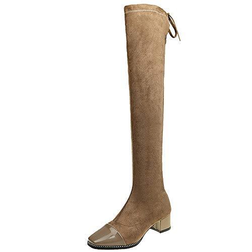 Bazhahei donna scarpa,ragazza scarpe con tacco alto martin tubo lungo stivale,invernali/autunno tacchi alti scarpe singole stivaletti a tubo centrale casual con tacco basso stivale,boots moda da donna