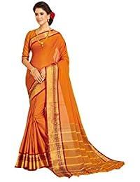 94654a8f51b41e Craftsvilla Women's Cotton Orange Saree with Traditional Pallu and Unstitched  Blouse Piece
