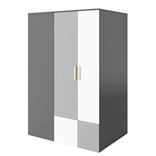 Mirjan24  Eckkleiderschrank Pok PO00P mit LED Beleuchtung, Drehtürenschrank mit 8 Einlegeböden und 2 Kleiderstangen, Kleiderschrank, Eckschrank (Graphit/Buche Ibsen/Hellgrau/Weiß)