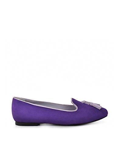 ShoeVita handgefertigte Loafer Damen Leder Slipper Lila mit Tassel Größe 33 - 45 Lila