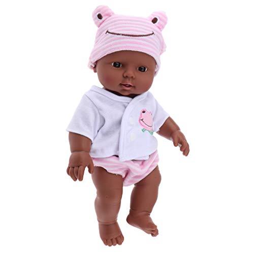 KESOTO Bambola Africano Giocattolo Miniature con Abiti Outfit Regalo Toy per Natale ai Bambini Vinile Panno - Rosa