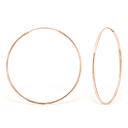 DTP Silver - Argento 925 placcato in Oro Rosa - Orecchini da donna a Cerchio - Spessore 1.5 mm - Diametro 70 mm