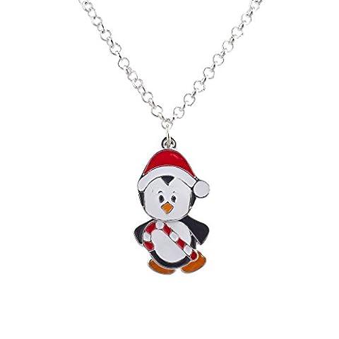 LUX Zubehör Silvertone Weihnachten Urlaub Pinguin Santa Anhänger Halskette