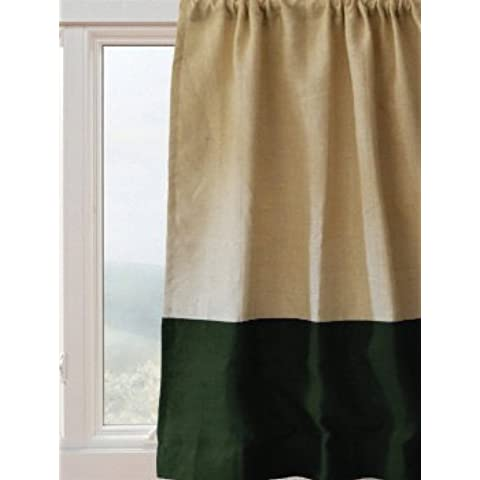 Amore Beaute a mano, colore: verde-Tende per finestra in iuta