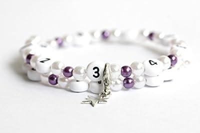 Bracelet d'allaitement de couleur blanc et violet foncé en acrylique