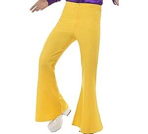 """Smiffys-48192XL Pantalones de Campana para Hombre de Color Amarillo, XL - Tamaño 46""""-48"""" (Smiffy"""