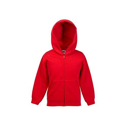 Fruit of the Loom Kinder ZIP-Kapuzensweatshirt #40 Rot - 140 (Rot Kinder Kapuzenpullover)