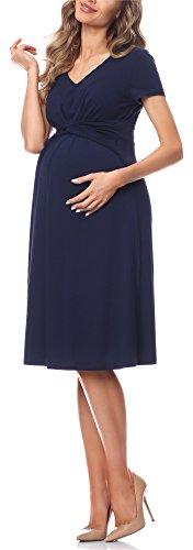 Be Mammy Damen Umstandskleid Maternity Schwangerschaftskleid BE20-223 (Navy, XL)