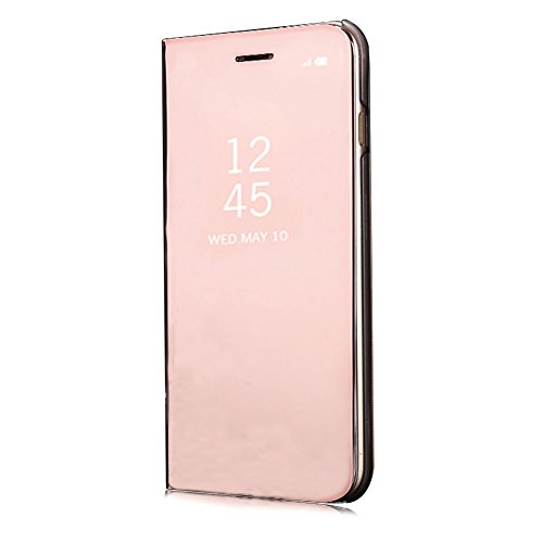 XINYIYI Miroir Coque pour Huawei Mate 10 Rose Gold, Housse Étui en PU Cuir Flip Case pour Huawei Mate 10, Luxe Electro Placage Texture avec Clear View Design Bumper Dur PC Backcover Ultra Slim Protector Stand Fonction pour Huawei Mate 10