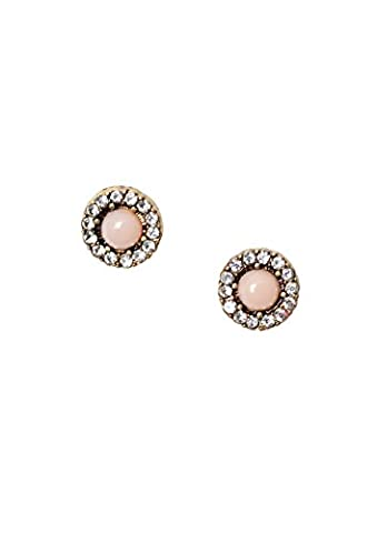 Happiness Boutique Women Rhinestone Stud Earrings Peach and Vintage Gold Flower nickel and lead free   Small Earrings for Girls in Neutral Colour Prime