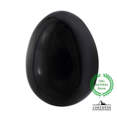 June&Ann 5,1 cm Edelstein Steinkristall heilende Eier Form Naturstein Schnitzen Massage Finger Komfortable Übungen 50 mm Black Obsidian (Jade-statue Groß)