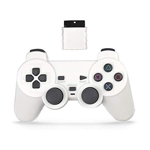 skrer Wireless Controller für PS2, Double Shock Gamepad für Playstation 2 weiß weiß
