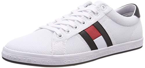 Tommy Hilfiger Herren Essential Flag Detail Sneaker, Weiß (White 100), 43 EU