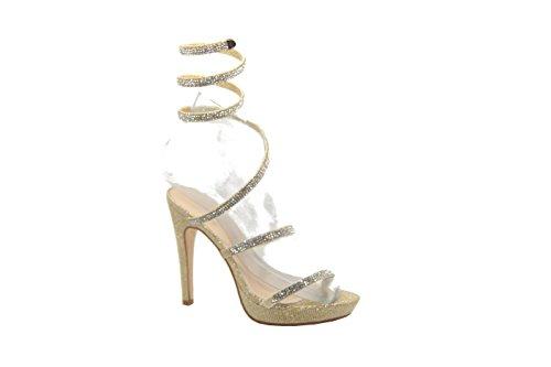 Shucentre, Sandales Pour Femmes Gold Pu
