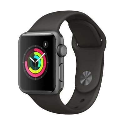 Apple Watch Series 3, 38 mm, Aluminiumgehäuse space grau, Sportarmband grau