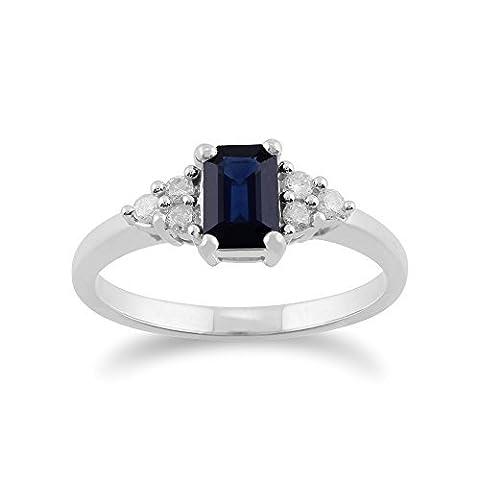 Gemondo Bague Saphir, 9ct Or Blanc 0,88 Ct Bleu Bague Saphir & Diamant