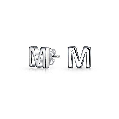 ABC Minimalistische Geometrische Hauptstadt Block Buchstabe Initialen M Ohrstecker Für Jugendlich Damen Sterling Silber