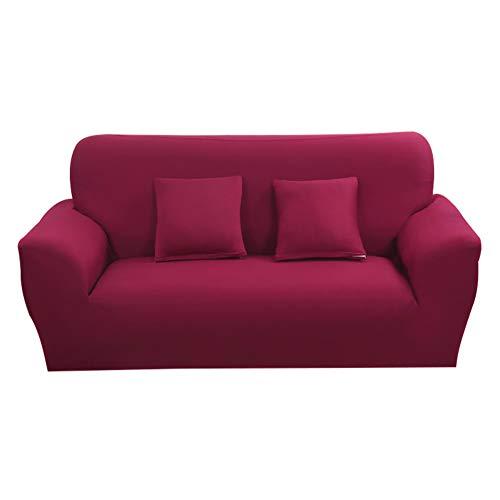 Hotniu 1-Stück Elastisch Sofaüberwurf, Sofaüberzug Polyester, Sofahusse Sofa Abdeckung Stretch, Sofabezug für Sofa, Couch, Sessel zum Schutz, mehrere Farben (3 Sitzer 175-220cm, Weinrot)