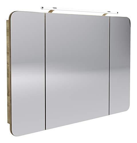 FACKELMANN LED Spiegelschrank Milano/Badschrank mit 3D Effekt/Soft-Close/Maße (B x H x T): ca. 110 x 78 x 15,5 cm/Schrank mit Spiegel & LED-Beleuchtung fürs Bad / 3 Türen/Korpus: Braun hell - Sechs Lampen Bad Möbel