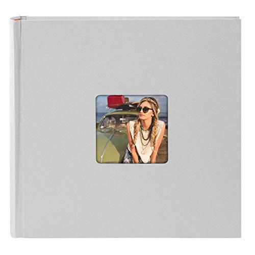 Goldbuch Fotoalbum mit Bildausschnitt, Living, 30x30 cm, 100 weiße Seiten mit Pergamin-Trennblättern, Hochwertiger Einband aus Strukturpapier in Leinenoptik, Grau, 31 098