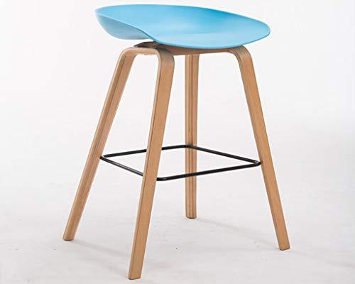 Flowing water Moderne Küchenhocker mit hölzernen Beinen High Hocker Bar Stühle ABS-Sitze Sitzgelenk-Sitze, für Counter Bar Küche H: 85CM,Blue - Neue Bar Hocker Stuhl