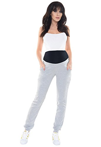 Purpless Damen Schwangerschafts Jogginghose Umstandshose Schwangerschaftshose mit Elastischer Bauchband Umstandsmode 1321 (38, Light Gray Melange)