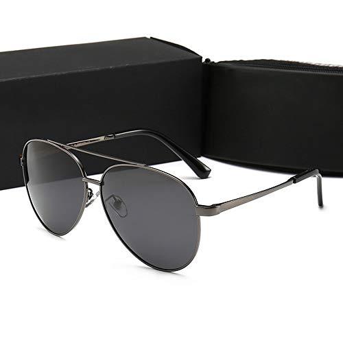 FANCYKIKI Männer/Frauen fahren Pilot polarisierte Sonnenbrille, UV 400 Objektivschutz Vintage High-End-Sonnenbrille für Reisen im Freien (Farbe : Gun black)