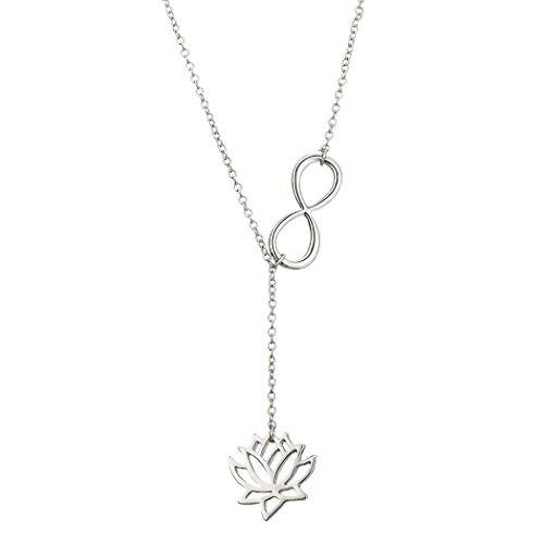 Jovono - Collar de moda con colgante de loto numero 8 de la suerte para mujer