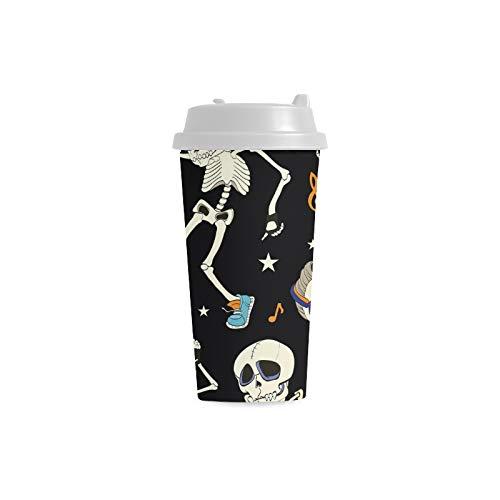 Kühle Mode Tanz Skelett Gewohnheit 16 Unze doppelwandige Plastikisolierte Sport Wasser Flaschen Schalen Pendler Reise Kaffeetassen für Studenten Frauen Milch Teacup Getränk (Milch Kostüm Glas)