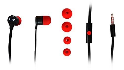 DeQLight - Auricolari stereo in-ear HTC con mini M4 M7 E295, rc nero/rosso
