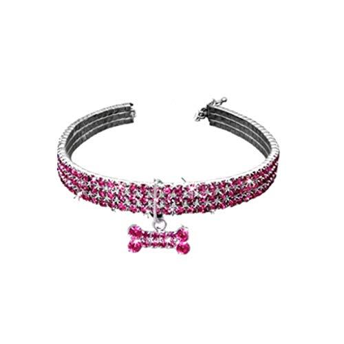 SMALLJUN Metalllegierung Kleine Hundewelpen Halskette Luxus 3 Reihen Glitter Strass Verstellbarer Verschluss Haustier Katze Chocker Kragen Mit Knochen Anhänger Geschenk Rosa Kleine -