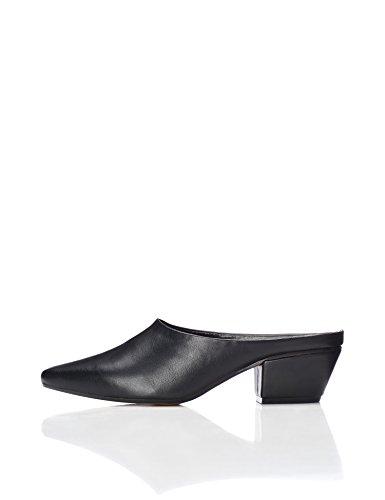 FIND Women's Cuban Heel Mules Black 7 UK (40 EU)