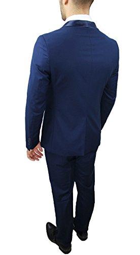 Abito completo uomo sartoriale blu elegante tessuto raso nuovo slim fit  aderente (44 1914a41a5f0