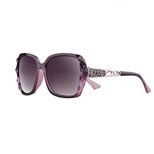 Sunny Honey Women's Polarized Sonnenbrille - Diamond-Mounted großen Spiegelrahmen UV-Schutz - Lassen Konturen des Gesichts schöner (Farbe : Charm Purple)