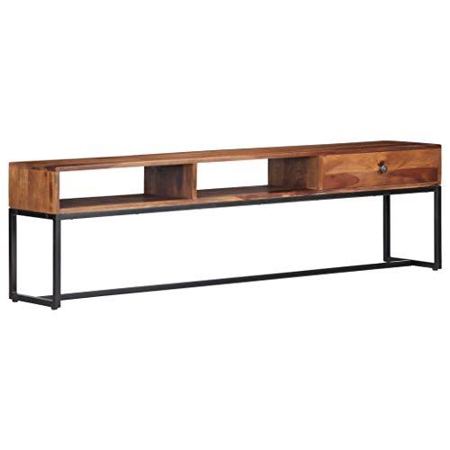 Tidyard TV-Schrank 160 x 30 x 45 cm Massivholz Sheesham Wood TV Cabinet with 1 Drawer 2 Open Compartments Lowboard TV...