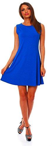 90-01 Mississhop Damen Sommer Kleid Minikleid Top Tunika Shirt Rundhals Blau 2XL