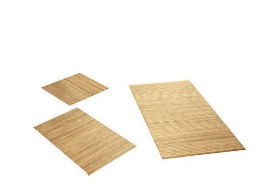 Rutschfeste Badematte aus Bambus von DE-COmmerce I Fussmatte Badteppich Bambusmatte Duschmatte Badezimmermatte Bamboo Badematte mit Anti-Rutsch Rückseite I Badvorleger Lines Pure 40 x 50 cm