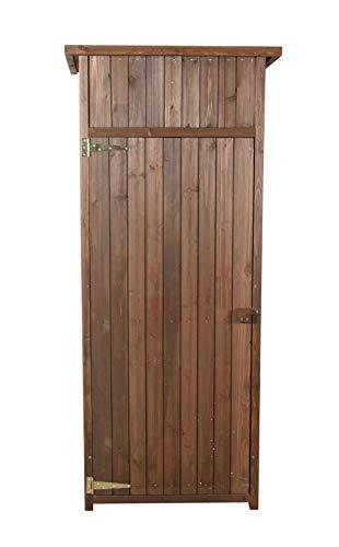 vanvilla Geräteschuppen Holz Flachdach Braun lasiert Gerätehaus Gartenschrank