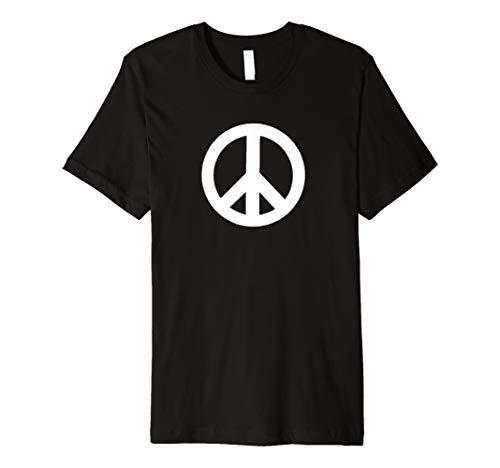 Weißes Friedensschild 1960er Jahre Kunstspray-Schablonenhemd