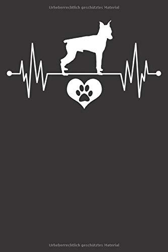 Mini Pincher Notizbuch: Mini Pincher Herzschlag EKG Herz Pfote Liebe 6x9 Notizbuch 120 Seiten liniert