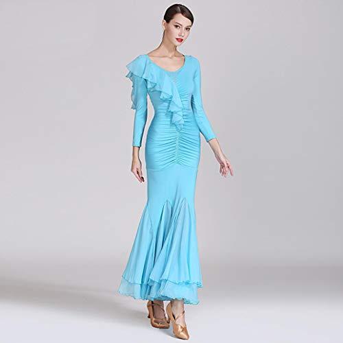 Z&X Modern Dance Kleid für Frauen große Pendel Rock Ballsaal Kostüm Wettbewerb Milch Seide / 30D Chiffon,L