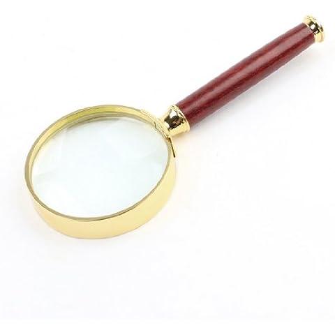 50mm diametro 5X ottico lente rosadi legno portatile oro tono telaio ingrandimento vetro