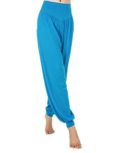 Baymate Donna Harem Baggy Morbido Cintura Lunghi Pantaloni Yoga Aladin Pantaloni Lago Blu
