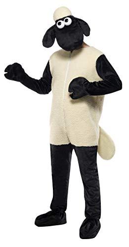 Kostüm Reißverschluss Gesicht - Shaun das Schaf Kostüm mit Jumpsuit und Kopfbedeckung, One Size