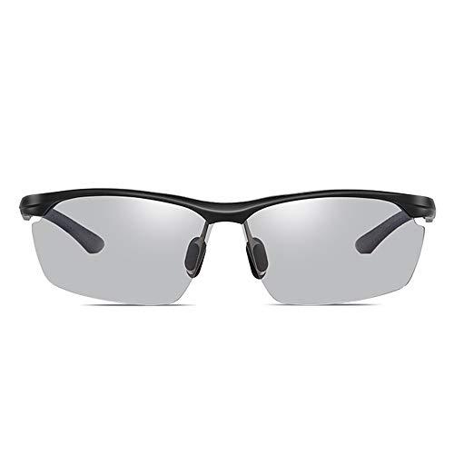 GXM-FR Sonnenbrille für den Außenbereich mit 100% UV-Schutz, Blendschutz, Brille zur Verringerung der Ermüdung der Augen, Smart Photochromic Polarized Lenses-Schutzbrille für Herren,Black