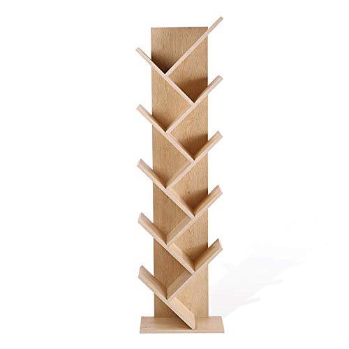 Rebecca mobili re4792 scaffale stile scandinavo, libreria moderna 10 ripiani, marrone, legno mdf, casa e ufficio, chiaro, 160 x 44.5 x 22 cm (hxlxp)