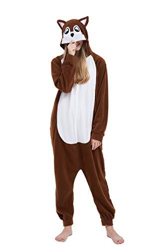 Fandecie Tier Kostüm Tierkostüm Tier Schlafanzug Pyjamas Jumpsuit Kigurumi Damen Herren Erwachsene Cosplay Tier Fasching Karneval Halloween (Maus, M:Höhe 160-169cm)