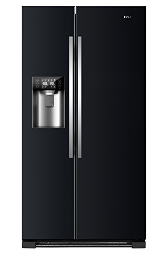 Haier HRF-630IB7 Side-by-Side/A++/ 179 cm Höhe/ 355 kWh/Jahr/ 375 L Kühlteil/ 180 L Gefrierteil/Wasser und Eisspender und Ice Crusher/Schwarz (Kühlschrank Mit Eis)